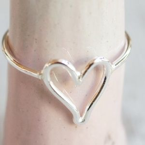 Open heart ring in shiny sterling silver NWT